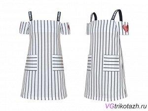 Платье Кулирка 100% хлопок Кулирное полотно: 100% х/б. Платье-прямой силуэт,на лямках,короткий двойной рукав,открытое плечо.Вышивка-паетки на рукавах,печать на лямках.Два накладных кармана.