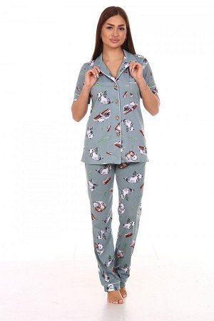 Пижама Ткань: Кулирка; Состав: 100% хлопок; Размеры: 44-54; Цвет: Панда-хаки