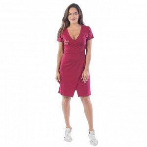 Платье с запахом Корона КЛП1428П2 бордовый