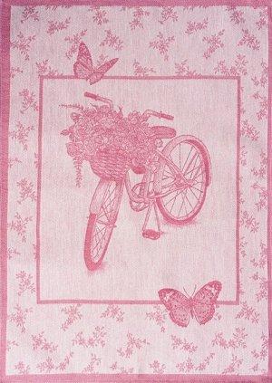 Полотенце 07с-39ЯК х/б пестр бел/цв 50х70 жакк Велосипед и цветы розов 5,29 (по 40)