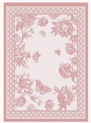 Полотенце 07с-39ЯК х/б пестр бел/цв 50х70 жакк Пионы и бабочки чайн роза 3,3 (по 40)