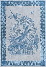 Полотенце 07с-39ЯК х/б пестр бел/цв 50х70 жакк Стрекозы синий (по 40)