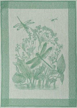 Полотенце 07с-39ЯК х/б пестр бел/цв 50х70 жакк Стрекозы зелен (по 40)