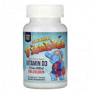 Vitables, жевательный витамин D3 для детей, со вкусом черешни, 12,5 мкг (500 МЕ), 90 вегетарианских таблеток