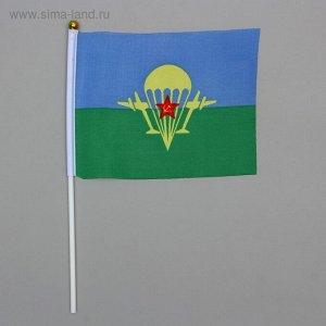 Флаг ВДВ 14х21 см, шток 28 см, полиэстер