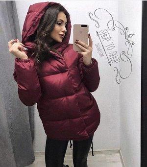 """Женская Одежда 11001 """"Однотон Кнопки + Капюшон"""" Бордовая"""