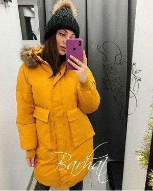 """Женская Одежда 16001 """"Однотон Накладные Карманы"""" Желтая"""