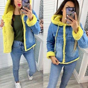 """Женская Одежда 24002 """"Джинсовая Капюшон Мех"""" Желтая"""