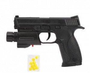 Пистолет механический, в комплекте: фонарь, пласт.пули 1пакет., эл.пит.тестовые AG10*1шт., AG13*1шт.