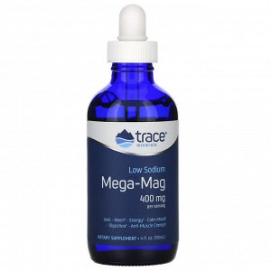 Trace Minerals Research, Mega-Mag, природный ионический магний с микроэлементами, 400 мг, 118 мл