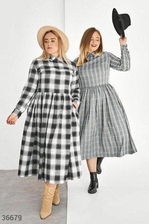 Клетчатое платье а-силуэта