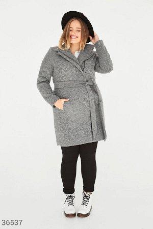Серое войлочное пальто