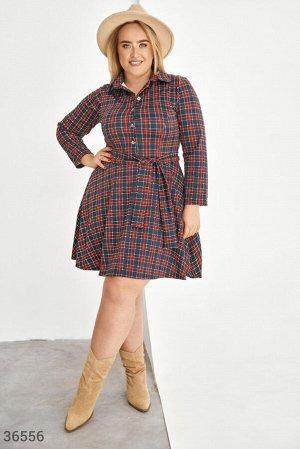 Клетчатое платье-мини в рубашечном стиле