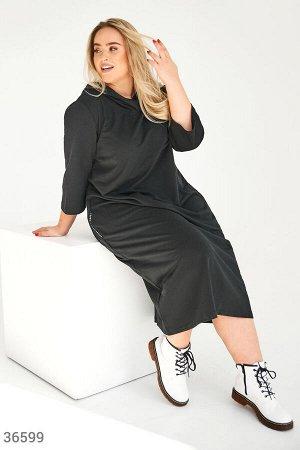Черное платье-худи
