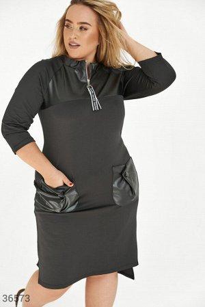 Платье с кожаными элементами