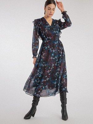 Шифоновое платье с принтом PL1117/mitar