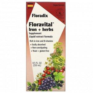 Flora, Salus, Floradix, Floravital, добавка с железом и травами, формула с жидким экстрактом, 250 мл (8,5 жидкой унции)