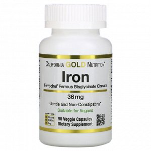 California Gold Nutrition, Ferrochel, железо (биглицинат), 36 мг, 90 растительных капсул