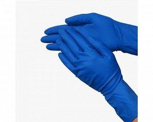 Перчатки - ЛАТЕКСНЫЕ прочные М, синие 1 ПАРА в упаковке (144/12)