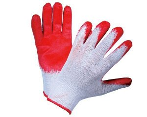 Перчатки - №5 белые с красным обливом (вес 36 г)(10 пар/уп) (600 тюк)
