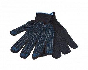Перчатки - №7 черные с син. точкой (вес 42 г) (10 пар/уп) (500 тюк)