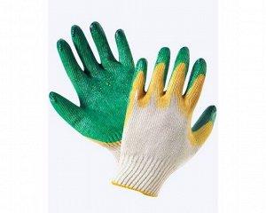 Перчатки - №26 Перчатки 13 кл.,ТРИНИТИ, с двойн. латексным покр. жел/зел (мешок-200пар/уп-10пар) б/р