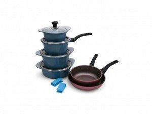 Набор посуды Ecoramic с каменным покрытием (голубой)