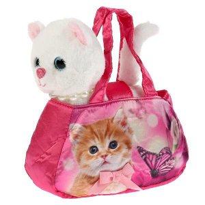 F80083-18N Мягкая игрушка кошка с ожерельем 18см в сумочке , в пак МОЙ ПИТОМЕЦ в кор.24шт