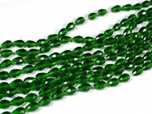 Бусины из циркона капля 7*11мм цв. темно зеленый