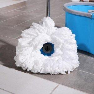Набор для уборки: ведро на колёсиках с пластиковой центрифугой 14 л, швабра, запасная насадка из микрофибры, цвет МИКС