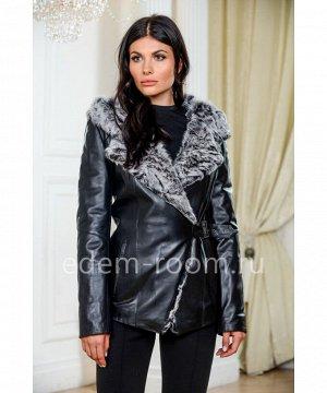 Утеплённая кожаная куртка для осениАртикул: ON-1813-2-65-CH-KZ
