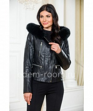 Осенне - весенняя кожаная куртка с капюшономАртикул: OL-8815-2-60-P