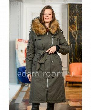 Пуховое пальто с капюшоном и мехомАртикул: 826-2-110-H-EN