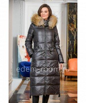 Зимнее удлинённое пуховое пальто  с мехомАртикул: 840-2-115-SR-EN