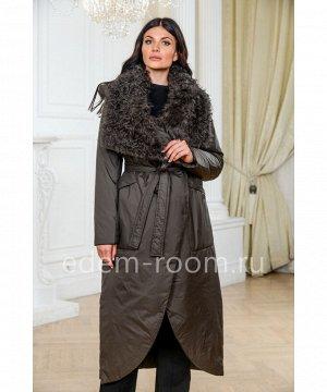 Пуховое пальто с меховым воротникомАртикул: 9999-2-130-UG-BR