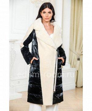 Комбинированное пуховое пальто из шерстиАртикул: A-1938-100-BL