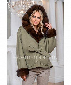 Пальто - пончо с капюшоном из норкиАртикул: AL-167-2-70-Z-N