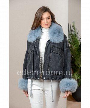 Зимняя джинсоваая куртка с меховыми манжетамиАртикул: 118-65-CH-GL-P