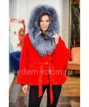 Красная шуба - пончо из кролика с чернобуркойАртикул: 1120-2-75-R-CH