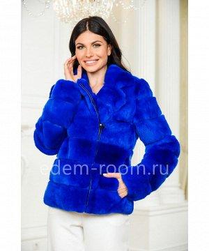 Синяя шуба - куртка из кролика рексАртикул: G-125-60-SN-KR