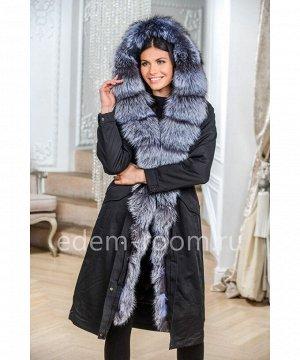 Чёрная парка - пальто с капюшоном кобраАртикул: N-1927-110-CH-CH