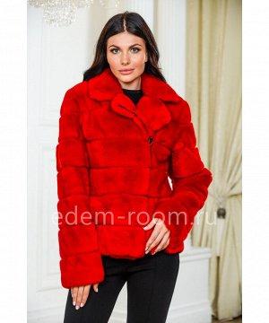 Красная шуба - куртка из кролика рексАртикул: G-125-60-R-KR