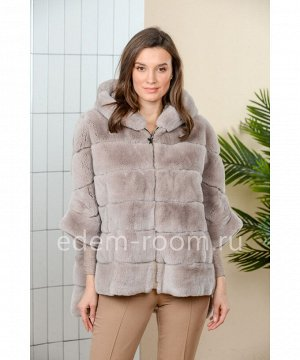 Куртка - пончо из кролика рекс с капюшономАртикул: 525-1-2-70-PS-KR