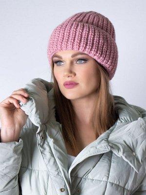 Шапка женская крупной вязки, с отворотом, розовый