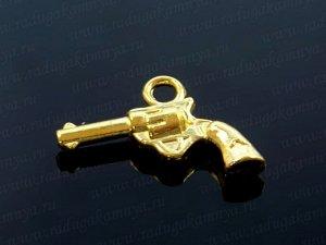 """Подвеска """"Револьвер"""",двухсторонняя 14*20мм цв. золото"""