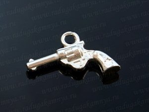 """Подвеска """"Револьвер"""",двухсторонняя 14*20мм цв. серебро"""