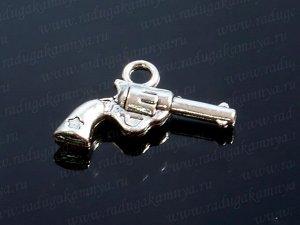 """Подвеска """"Револьвер"""",двухсторонняя 14*20мм цв.античное серебро"""