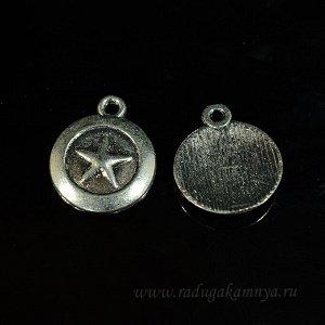 Подвеска Медальон звезда 16*19мм, цв.античное серебро (упаковка 20штук)