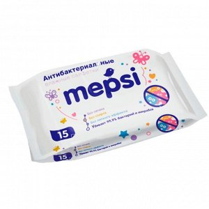 Влажные антибактериальные очищающие салфетки MEPSI 15шт.