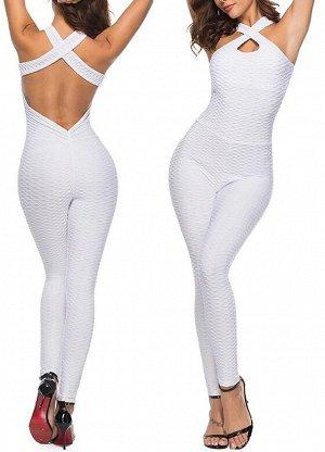 Белый спортивный комбинезон с открытой спиной
